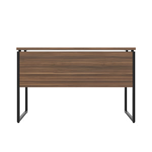 Dark Walnut Milton desk, black frame, back view
