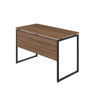 Dark Walnut Milton desk, black frame, back angle view