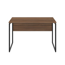 Load image into Gallery viewer, Dark Walnut Milton desk, black frame, front view