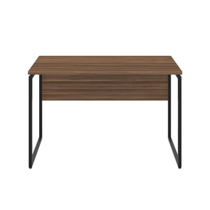 Dark Walnut Milton desk, black frame, front view