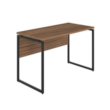 Load image into Gallery viewer, Dark Walnut Milton desk, black frame, front angle view