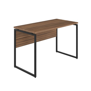 Dark Walnut Milton desk, black frame, front angle view