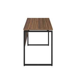 Dark Walnut Milton desk, black frame, side view