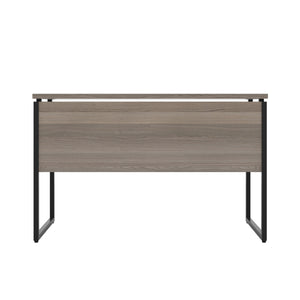 Grey Oak Milton desk, black frame, back view