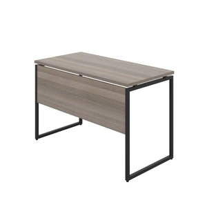 Grey Oak Milton desk, black frame, back angle view
