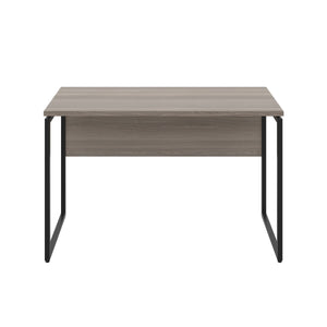 Grey Oak Milton desk, black frame, front view