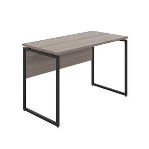 Grey Oak Milton desk, black frame, front angle view