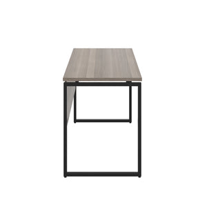 Grey Oak Milton desk, black frame, side view