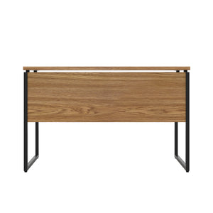 Oak Milton desk, black frame, back view
