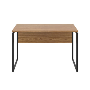 Oak Milton desk, black frame, front view