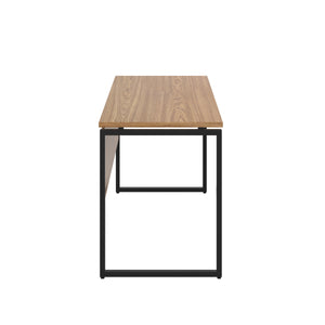Oak Milton desk, black frame, side view