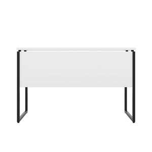 White Milton desk, black frame, back view