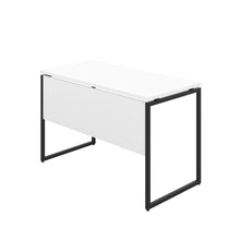 Load image into Gallery viewer, White Milton desk, black frame, back angle view