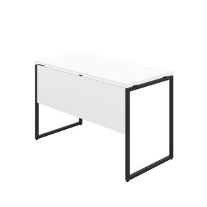 White Milton desk, black frame, back angle view