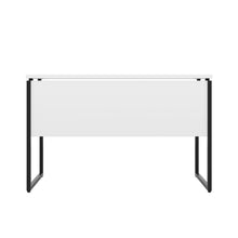 Load image into Gallery viewer, White Milton desk, black frame, back view