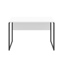Load image into Gallery viewer, White Milton desk, black frame, front view