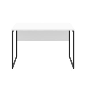 White Milton desk, black frame, front view