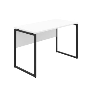 White Milton desk, black frame, front angle view