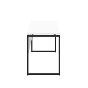 White Milton desk, black frame, side view