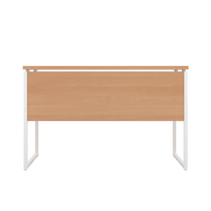 Beech Milton desk, white frame, back view