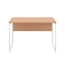 Load image into Gallery viewer, Beech Milton desk, white frame, front view