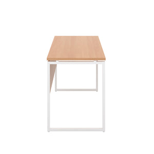 Beech Milton desk, white frame, side view