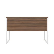 Load image into Gallery viewer, Dark Walnut Milton desk, white frame, back view