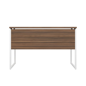 Dark Walnut Milton desk, white frame, back view