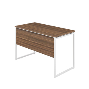 Dark Walnut Milton desk, white frame, back angle view