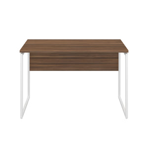 Dark Walnut Milton desk, white frame, front view