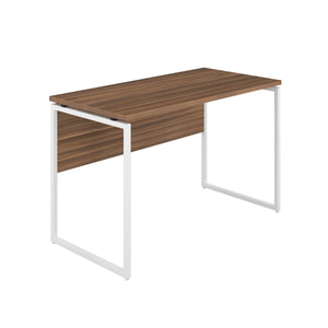 Dark Walnut Milton desk, white frame, front angle view