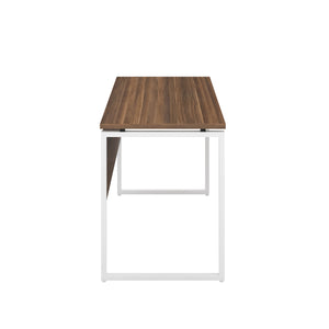 Dark Walnut Milton desk, white frame, side view