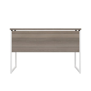 Grey Oak Milton desk, white frame, back view