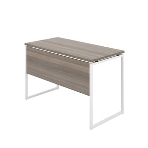 Grey Oak Milton desk, white frame, back angle view