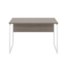 Load image into Gallery viewer, Grey Oak Milton desk, white frame, front view