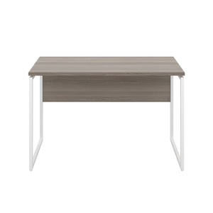 Grey Oak Milton desk, white frame, front view