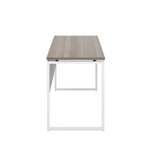 Grey Oak Milton desk, white frame, side view