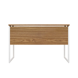 Oak Milton desk, white frame, back view