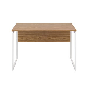 Oak Milton desk, white frame, front view