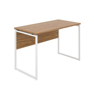 Oak Milton desk, white frame, front angle view