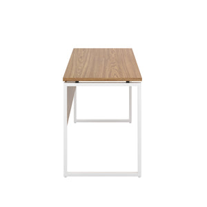 Oak Milton desk, white frame, side view