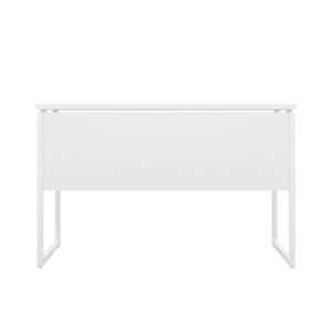 White Milton desk, white frame, back view