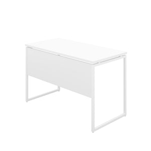 White Milton desk, white frame, back angle view