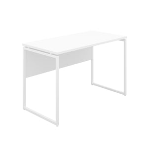White Milton desk, white frame, front angle view