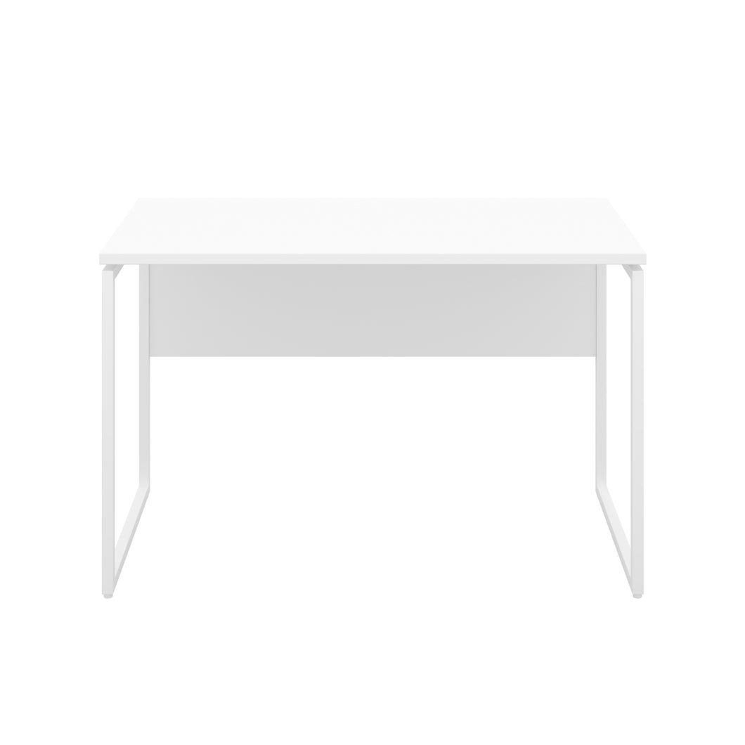 White Milton desk, white frame, front view
