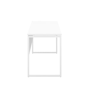 White Milton desk, white frame, side view