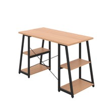 Load image into Gallery viewer, Beech Odell desk with black frame, back angle view