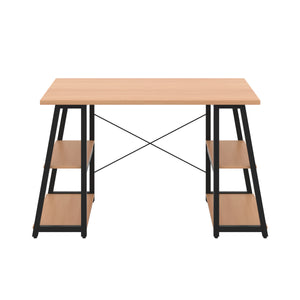Beech Odell desk with black frame, front view