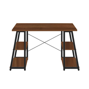 Dark Walnut Odell desk with black frame, front view