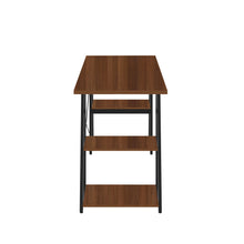Load image into Gallery viewer, Dark Walnut Odell desk with black frame, side view